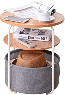End Table with Cloth Storage Bin Metal Frame Wood Side Table 2 Layer Table for Living Room (Wood)