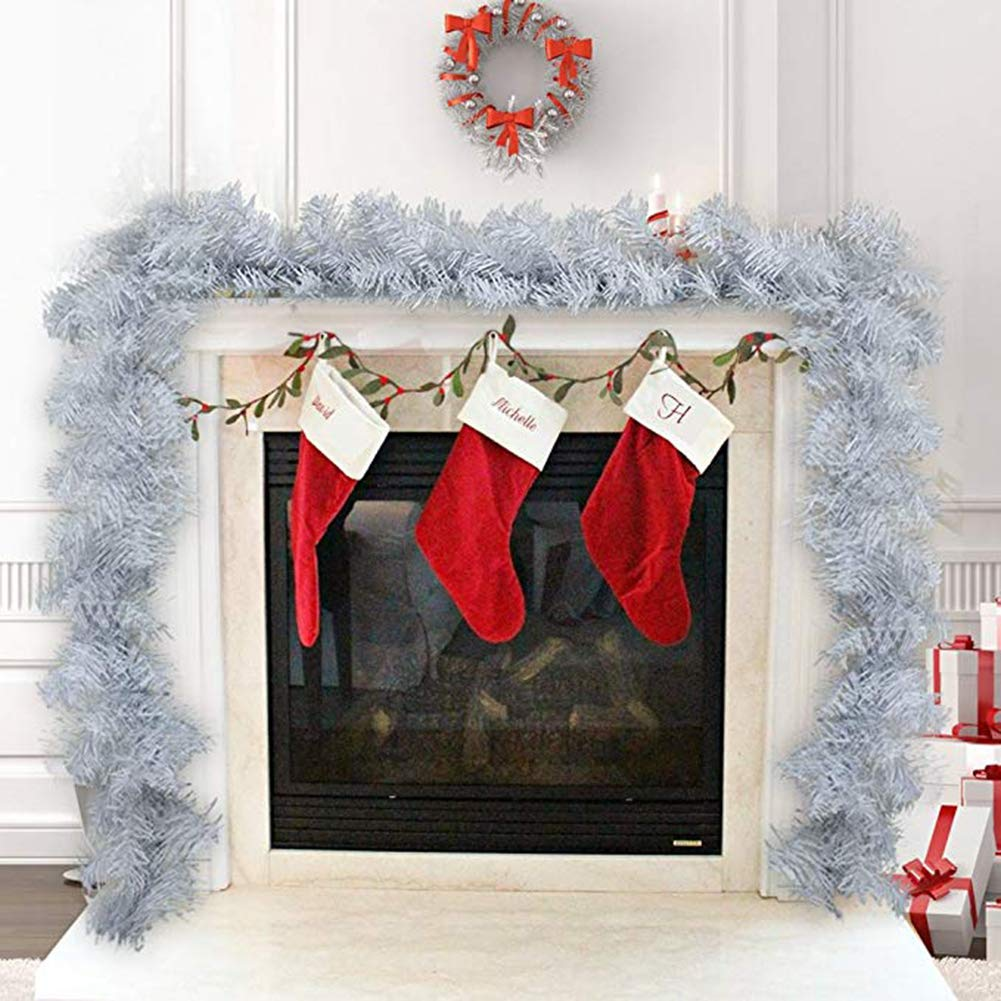 SMCOOL 6 Pies / 1,8 M De Navidad Garland Decoraciones para Chimeneas Escalera Blanca Llana Sin Decoración De La Guirnalda Verde De Navidad Guirnalda del Pino (Blanco): Amazon.es: Hogar