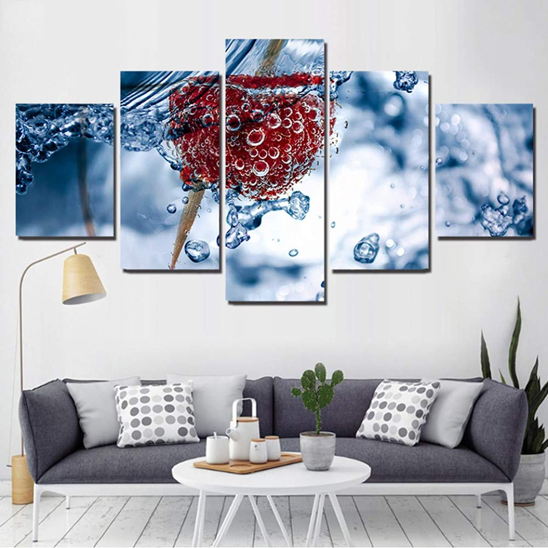 tienda RMRM Marco HD Impreso Impreso Impreso Lienzo Carteles Moderna Decoración para el hogar 5 Paneles Cuadros de Frambuesa Sala de Estar Modular Arte de la Parojo Marco de Fotos de Frutas 20x35cm20x45cm 20x55cm  más descuento