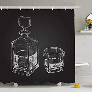 Ahawoso Shower Curtain Set with Hooks 66x72 Malt Sketch Whiskey Bottle Carafe Rum Purity Glass Hand Drawn Beverage Food Bourbon Drink Objects Waterproof Polyester Fabric Bath Decor for Bathroom