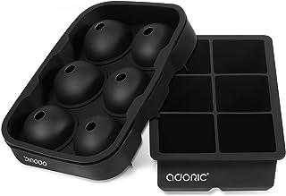 Adoric Bandejas de Silicona para Cubitos de Hielo, Conjunto de 2, Sin BPA Moldes de hielo de silicona Molde cuadrado y red...