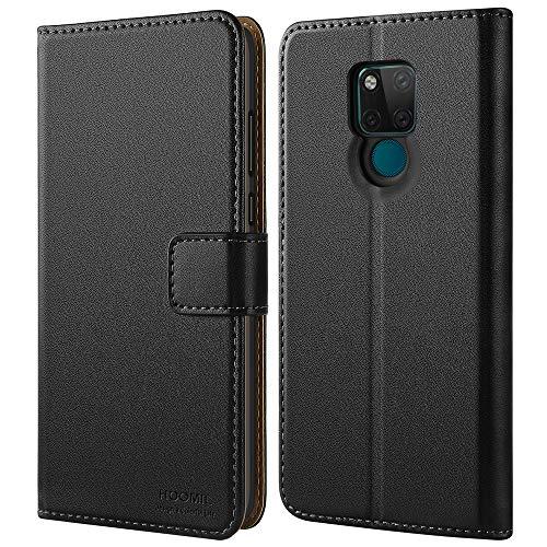 HOOMIL Handyhülle für Huawei Mate 20 X Hülle, Premium PU Leder Flip Schutzhülle für Huawei Mate 20 X 4G/5G Tasche, Schwarz
