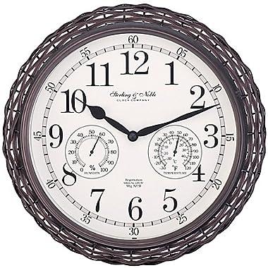 Sterling & Noble Dark Woven Indoor/Outdoor Wall Clock in Brown