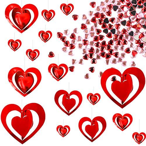 UFLF 1pcs Guirnalda de Corazones Colgantes Adornos Plásticos para San Valentín+200pcs Corazones Acrílicos Decoración Dispersión Mesa Boda para Fiesta Banquete