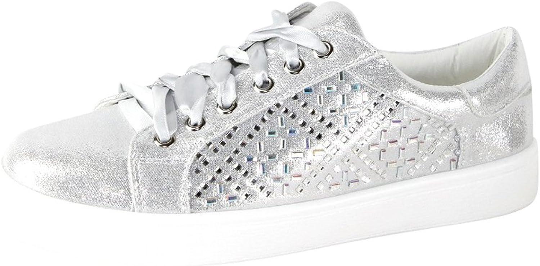 Cambridge Select Women's Low Top Closed Round Toe Glitter Crystal Rhinestone Lace-up Flatform Fashion Sneaker