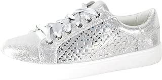 Cambridge Select Women's Glitter Crystal Rhinestone Lace-Up Flatform Fashion Sneaker