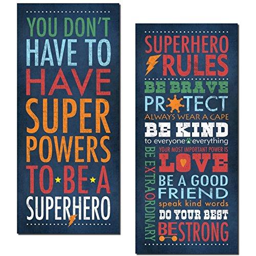 Gango Home Decor Superhero Rules Set by Stephanie Marrott; Two 8