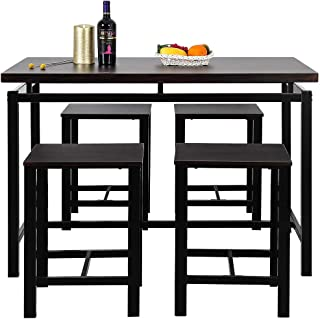 Mooseng 5 Pieces Dining Table Set, Bar Pub Table Set, Industrial Style Counter Height Kitchen Table with 4 Backless Bar stools for Breakfast Nook, Kitchen Room, Dining Room and Living Room