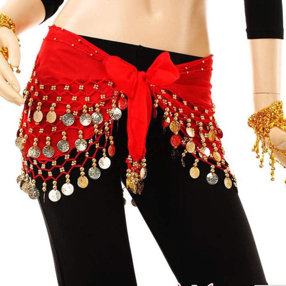 CCEKD V/êtements de Danse Shinning 3 rang/ées pi/èce dor Danse du Ventre Costume Hip /écharpes Jupe Ceinture Danse Wrap