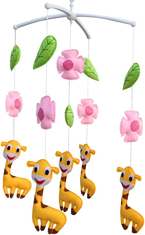 Pink Flowers And Happy Giraffe Pretty Decor Handmade Toy Musical Mobile