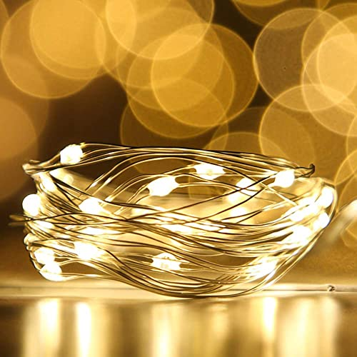 [12-PACK] LED String Lights LED Moon Lights 20 Led Micro Lights On Silver Copper Wire ( Batteries Include) For DIY We...