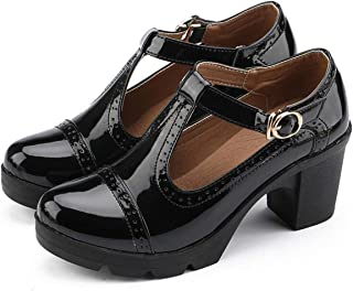 YZHYXS - Scarpe da donna classiche con cinturino a T, con tacco medio, punta quadrata