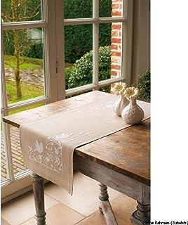 Vervaco Tischläufer Weiße Voegel & Blumen Stickpackung/Läufer im vorgedruckten/vorgezeichneten Kreuzstich, Baumwolle, Mehrfarbig, 40 x 100 x 0.3 cm