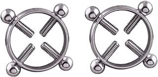 Fenteer 2 Pieces Non-piercing Stainless Steel NippleRings Screw Clamp Design Adjustable Circle Mamilo Shield