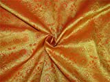 TheFabricFactory Brokat Stoff Mango Orange X Metallic Gold