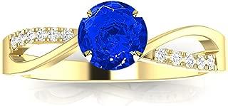 2 carat diamond and sapphire engagement ring