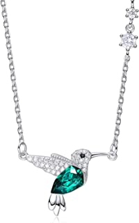 Hummingbird Necklaces S925 Sterling Silver Necklaces for Women Embellished with Crystals from Swarovski Jewelry for Women, Animal Necklace Gifts for Girlfriend and Mom Black