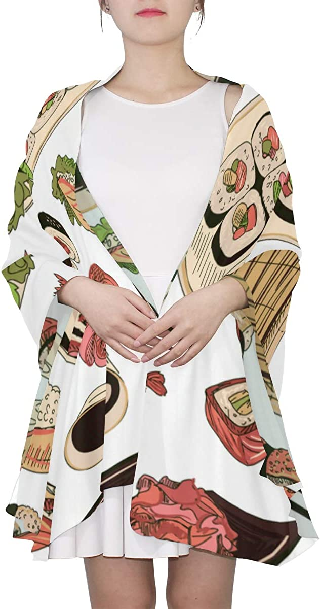 Japanese Seafood Cuisine With Sushi Unique Fashion Scarf For Women Lightweight Fashion Fall Winter Print Scarves Shawl Wraps Gifts For Early Spring
