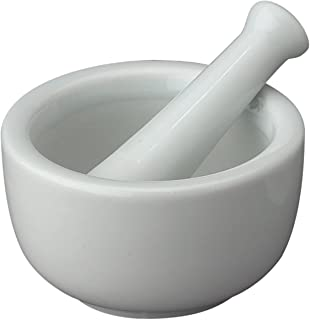 HIC Mortar and Pestle Spice Herb Grinder Pill Crusher Set, Fine-Quality Porcelain