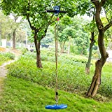 Youareking Safety Rope Wire Zip Line Kit for Kids and Adult Hand Shank Disk Rope, Backyard Outdoor Play, with Spring Brake Adjustable Swing Seat, Blue