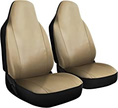 OxGord Car Seat Cover - PU Leather Two Solid Beige with Front Low Bucket Seat - Universal Fit for Cars, Trucks, SUVs, Vans - 2 pc Set