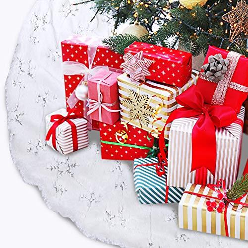TOBEHIGHER Christmas Tree Skirt 48 inches Snowy White Tree Skirt for Christmas Decorations