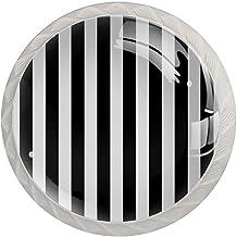 ATOMO 4 Stks Kast Knoppen voor Lade Dressoir Keuken Kasten Garderobe Badkamer Wit Zwart Streep
