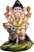 THE DIVINE MART Ganesha Riding on Mouse Resin Statue