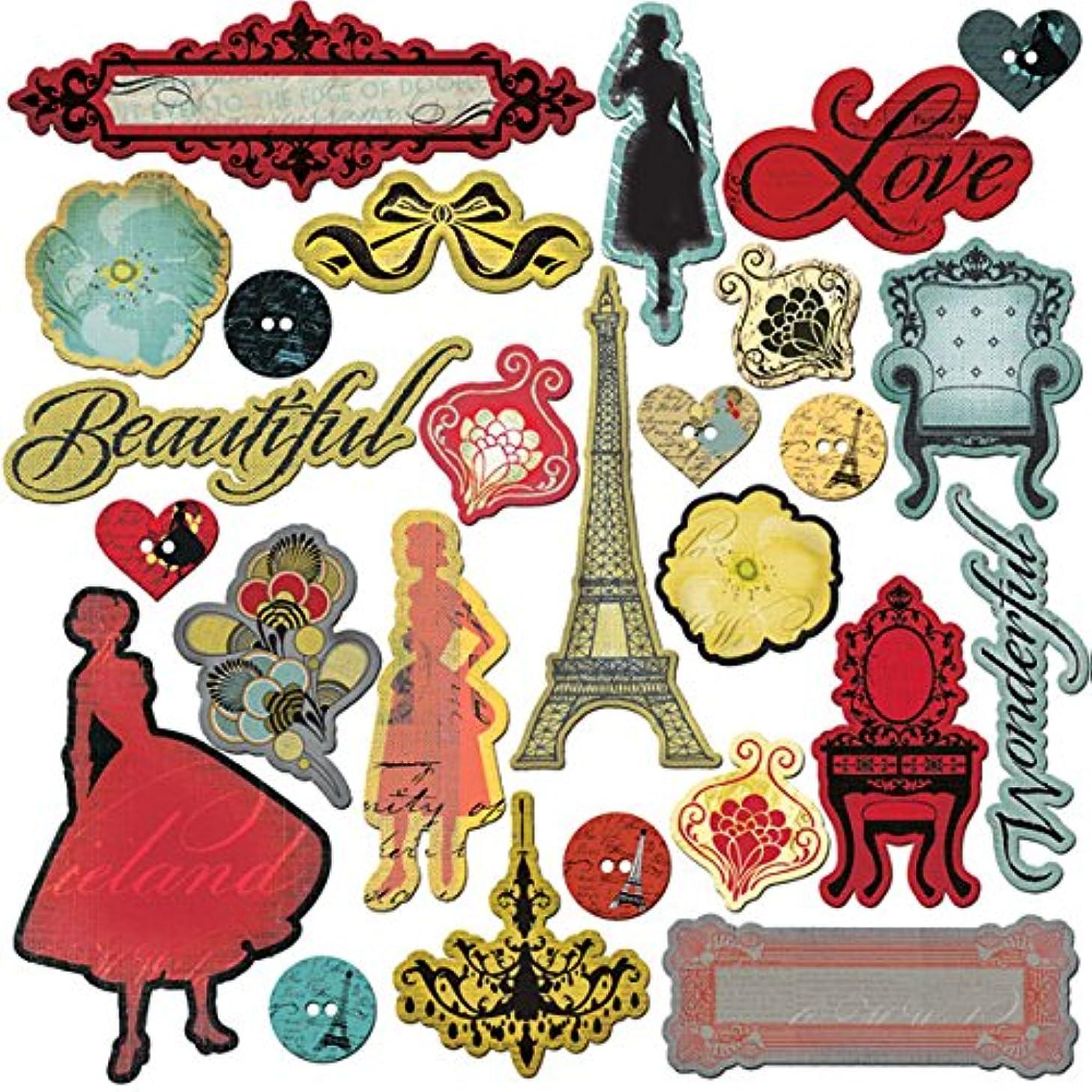 Prima Marketing 558925 CHIPBOARD Stickers - Paris