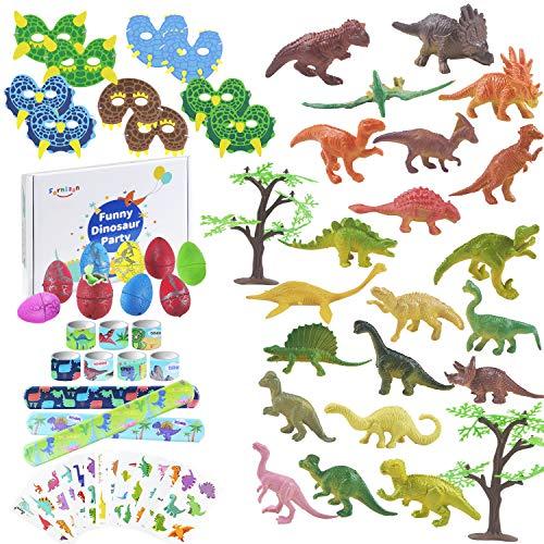 FORMIZON 102 STK. Dinosaurier Party Mitgebsel, Dinosaurier Spielzeug Dinosaurier Schnapparmband Dinosaurier Tattoo Aufkleber Maske Dinosaurier Eier für Dinosaurier Party Mitgebsel Kindergeburtstag