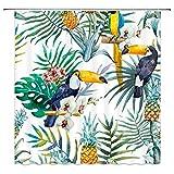 AdaCrazy Aquarell Duschvorhang Bunte Tropische Pflanzen Blumen & Vögel grüne Palme Bananenblätter Ananas Tukan Papagei Dekoration Bad Vorhänge Moderne Bad Vorhänge 71x71 Zoll