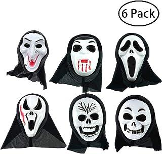 Tumao お面 ゴースト マスク 6点セット かぶりもの ホラーマスク 仮面 ドクロ スクリーム フルタイプ ハロウィン コスプレ 仮装 パーテイー 発表会 出し物 おとな 白