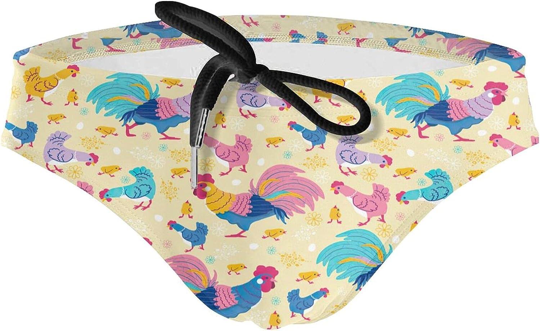 KXT Fun Chickens Men's Bikini Swimsuit Boxer Brief Underwear Drawstring Swimming Trunks