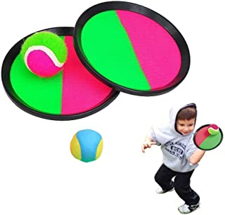 SXSSwellshopping Toss Catch Paddle Game Set, Toss Catch Sport Game 2 Players 2 Balls Outdoor Beach Garden Pool Toy Great Family Game(Black) Outdoor