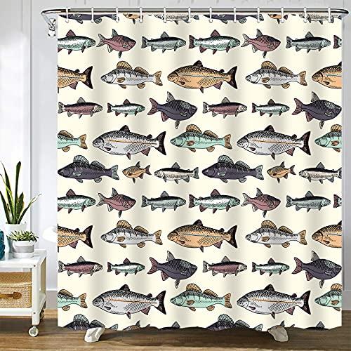 Abaysto Duschvorhang-Set mit Haken aus Polyester-Stoff, blauer Fisch mit Vintage-Fischen, zum Zeichnen von Lachs, Forellen, Angeln, Karpfen, Cartoon, Badezimmerdekor, tolles Geschenk