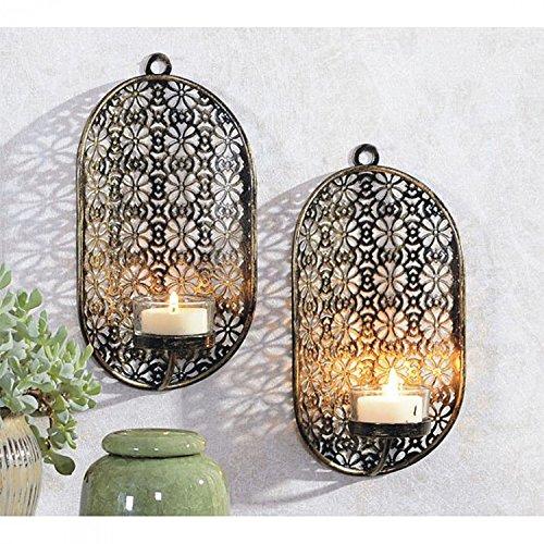 2er Set Dekorative Wandkerzenhalter für Teelichter oval Schwarz/Gold aus Metall für Teelichter oval