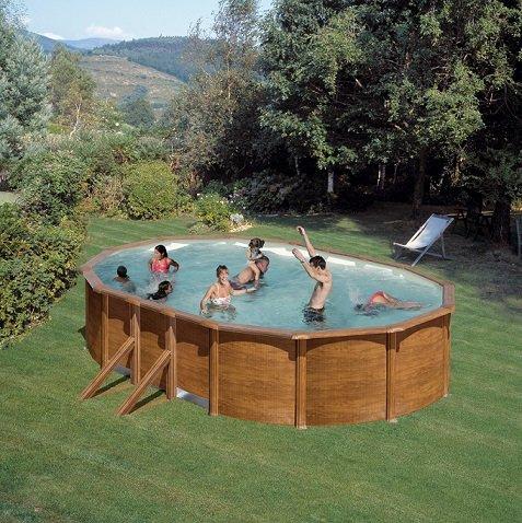 Pool Juego de Feeling ovalado 500x 300x 120cm Aspecto de Madera