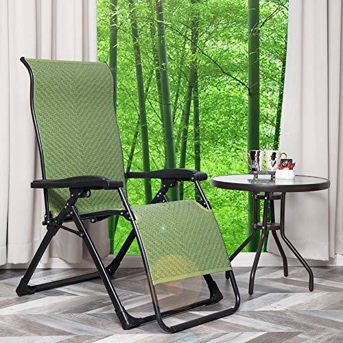 FF Chaise Longue inclinable de Salon inclinable de gravité zéro, inclinable en rotin résistant, Chaise Longue de Jardin de Plage en Plein air, Vert, Support 150 kg Vert