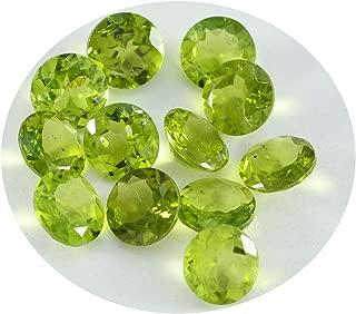 Joyas Plata 1PC Real Green Peridot Faceted 6x6 mm Round Shape AA Quality Gemstone JP- STPERFCRO-6x6-us