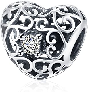 NYKKOLA 925 Sterling zilveren hart liefde vorm kralen met zirkonia kristal bedels past Pandora armbanden
