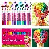 Haarkreide,Sinicyder 12 Farben Temporäre Haarkreide Set Auswaschbare und ungiftige für Kinder...