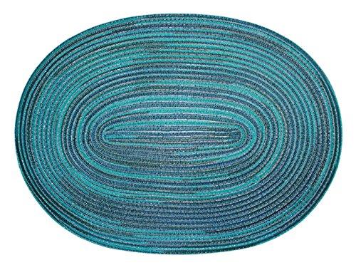 Haus und Deko Bast Platzset oval ca. 35x50 cm Kunststoff Tischset Untersetzer waschbar Türkis Blau meliert