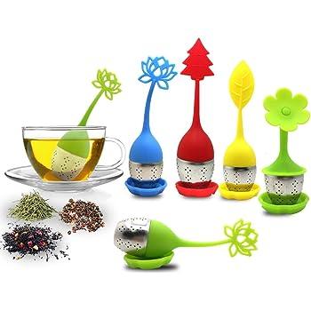 El infusor de té con bandeja de goteo incluye el juego de 5, filtro de té y filtro de té SourceTon con mango de silicona de acero inoxidable y filtro de té.