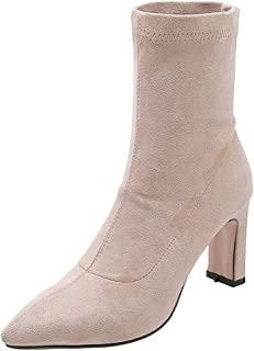 TAOFFEN Women Fashion High Heels Ankle Boots Pointed Toe