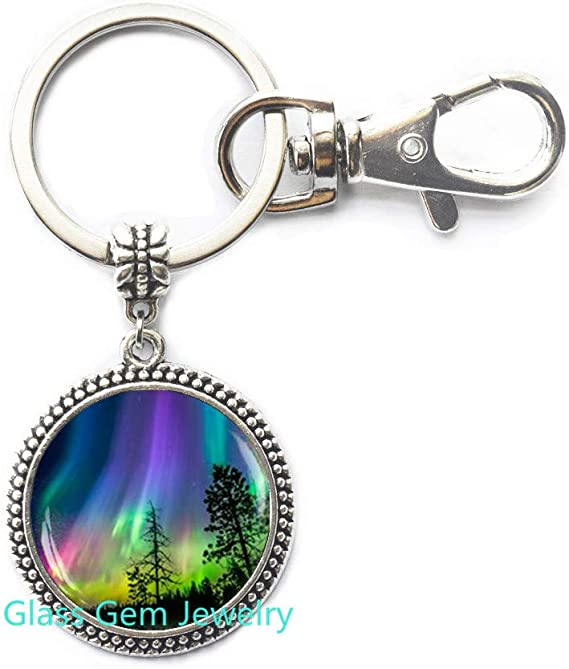 Green Northen Lights Keychain Keychain Keyring Green Northen Lights Aurora Borealis Stainlees Steel Boxed Gift Gift