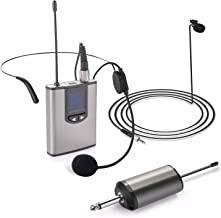 Wireless Headset Microphone/Lavalier Lapel Mic,UHF Head Set System with Bodypack Transmitter,328ft Range,3.5&6.35mm Port,for Computer,PC,Phone,Speakers,Teaching,Voice Amplifier