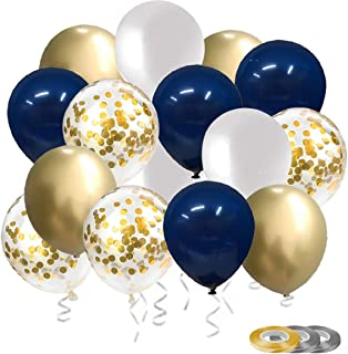 Navy Blue Balloon and Metallic Gold Balloons Total 60PCs for Baby Bridal Shower Wedding Engagement Birthday Graduation Ann...
