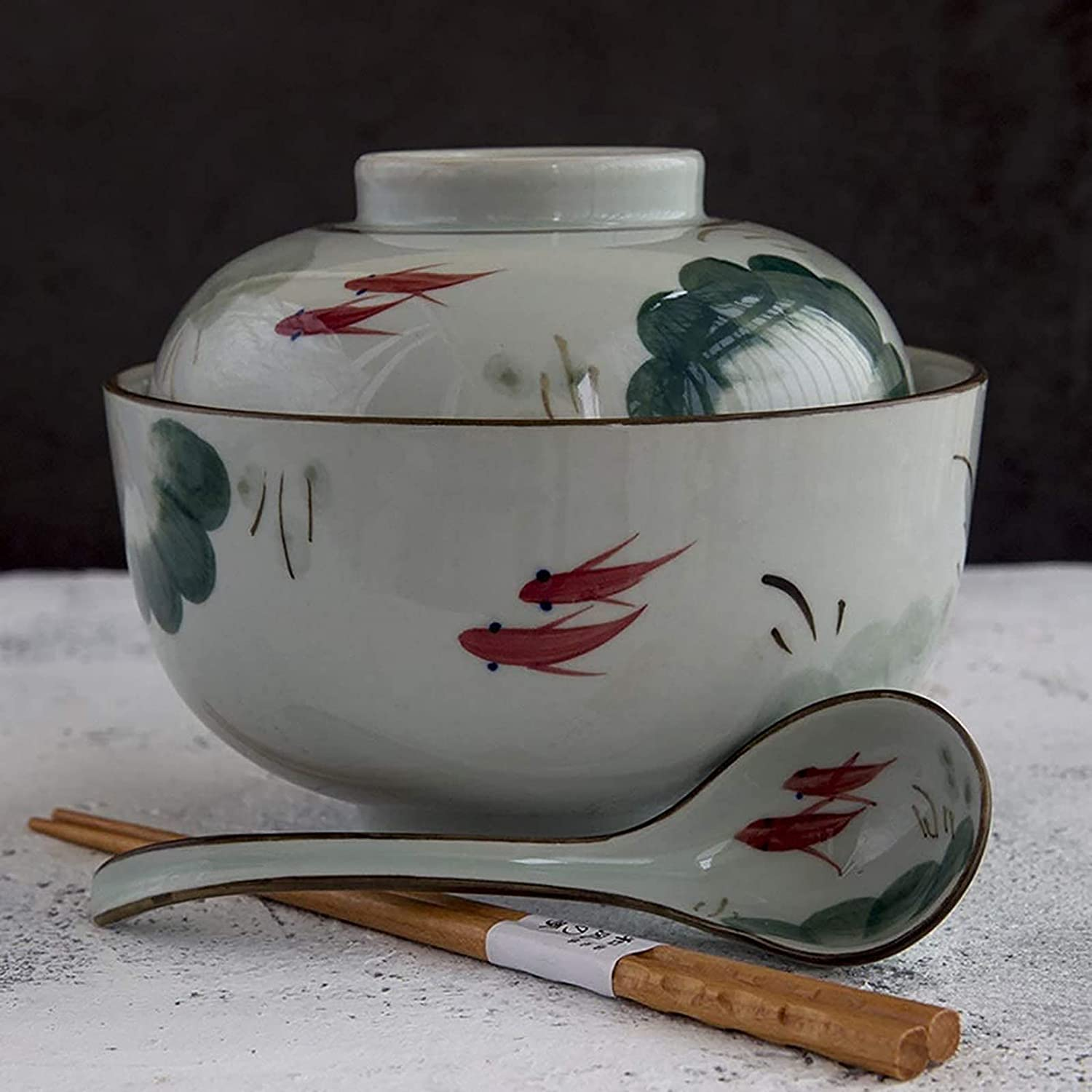 NBXLHAO Rice Ranking Credence TOP10 Bowls Hand-Painted Ceramic Bowl lid with Milk Large