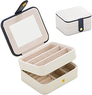 Jewelry Organizer Box-Naswei Travel Portable Jewelry Storage Case Accessories Holder Pouch Bulit-in Mirror with Environmental Faux Leather for Earring,Lipstick,Necklace,Bracelet,Rings