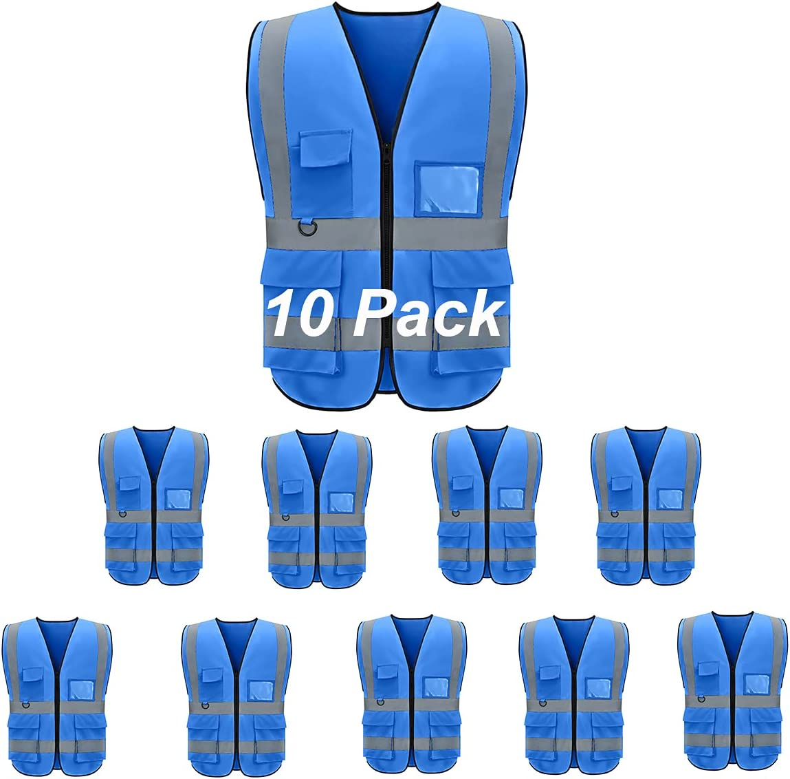 10 Pack Safety 信用 Vests Reflective Strips Zipper with Pockets C and 店舗